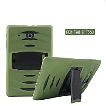 Lumcrissy Galaxy Tab E 9.6 inch SM-T560 Case Children Kids Drop Proof Shockproof dust-proof hard armor Heavy Duty design with Kickstand Protective Case For Samsung Galaxy Tab E / Tab E Nook 9.6 Inch Tablet (SM-T560 / T561 / T565 & SM-T567V Verizon 4G LTE Version) (Army Green)
