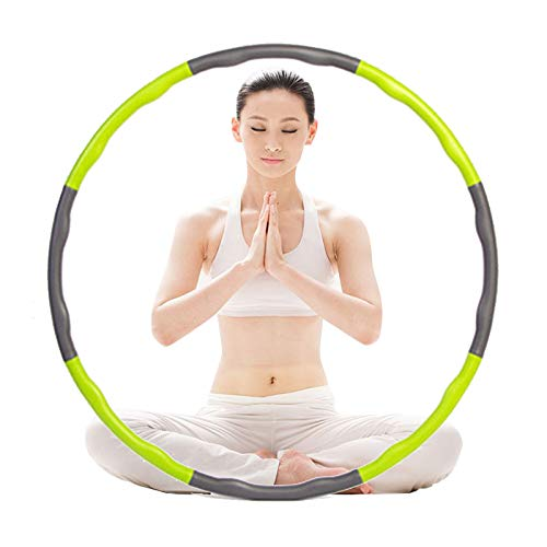 Kaiyuan Hula Hoop Removable Weight Loss Exercise Sports Fitness Equipment Foam Sponge Adults Kids (Green&Grey)