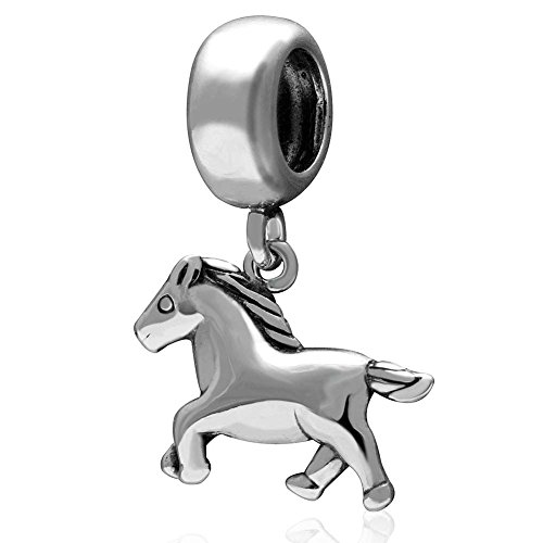 Sterling Silver Animal Charms - Horse Charm 925 Sterling Silver Animal Charm Keep Running Charm for Bracelet (A)