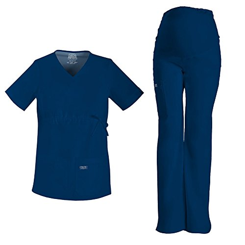 Cherokee Workwear Maternity V-Neck Top 4708 & Core Stretch Maternity Pull On Pant 4208 Scrub Set (Navy - Small)