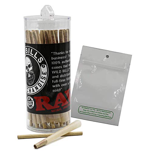RAW Classic 98 Special Pre Rolled Cones Bundle (100 Pack) with Mylar 3.5 x 5 No Stink Bag