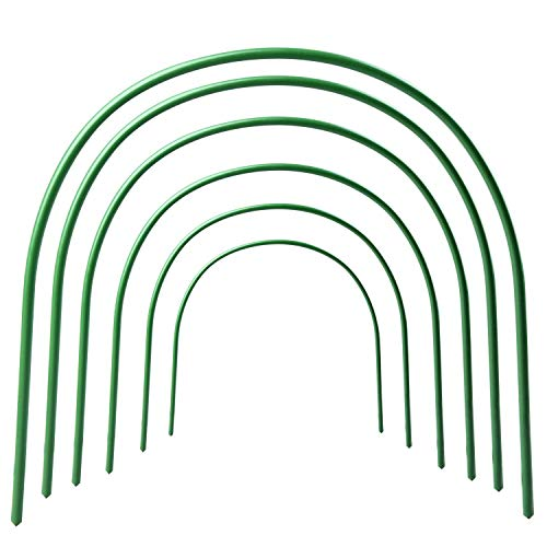 ASSR 6Pack Greenhouse Support Hoops, 4ft Long Steel with Plastic Coated Hoops Garden Grow Tunnel