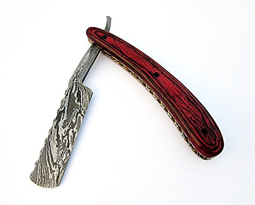 Poshland Knives RZ-2085, Custom Handmade Damascus Steel Straight Razor - Beautiful File Work on Red Doller Sheet Handle