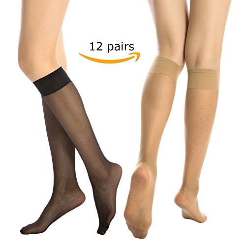 MANZI 12 Pairs Lady's Sheer Knee High Stockings ( 6 Pairs Black,6 Pairs Nude)