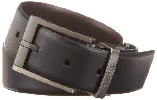 Kenneth Cole REACTION Men's Reversible Feather Edge Belt, Black/Brown, 34 (Brown Feather Edge)