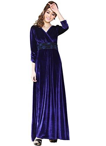 Medeshe Women's Blue Autumn/fall 3/4 Sleeved Velvet Maxi Dress Gown