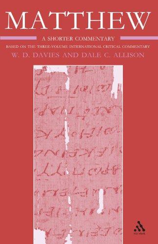 Matthew: Volume 3 (International Critical Commentary)