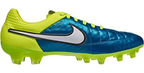NIKE Womens Tiempo Legend V FG Soccer Cleat Blue Lagoon/Volt (6.5)