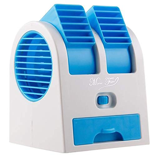 Ganesh Mini Fan & Portable Dual Bladeless Small Air Conditioner Water Air Cooler Powered by USB & Battery Use of Home/Office/Car/Garden/Classroom (Pack of 1) Multicolor