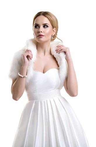 Ladies Bridal Wedding Fox Faux Fur Jacket Bolero with Collar FFJ-34 Ivory