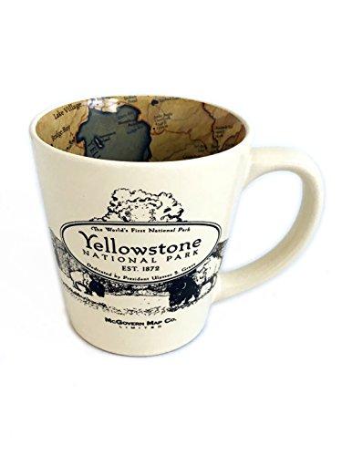 National Park Inside Out Map Designed Ceramic Latte Coffee Mug - Yellowstone by McGovern & Company (Coffee Mugs Park)