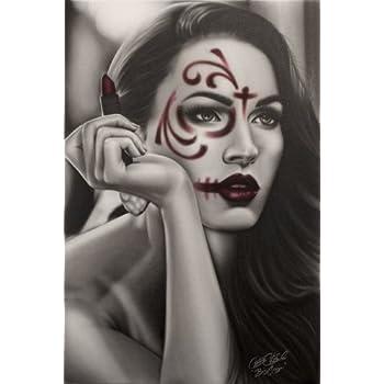 9286e4a63 Black Market Art Dead Lipstick by Big Ceeze Sexy Tattooed Woman Portrait  Canvas Art Giclee Print