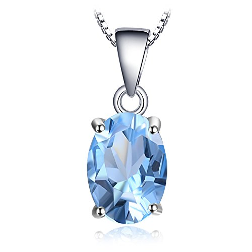 Earring Vs1 (JewelryPalace Gemstones Birthstone Necklace For Women 925 Sterling Silver Solitaire Pendant Necklace For Girls 2.1ct Natural Blue Topaz Necklace Chain Box 18 Inches Oval Cut)
