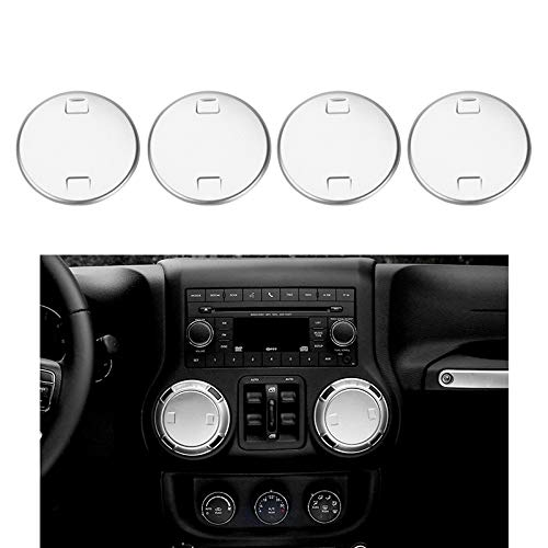 JeCar Aluminum Alloy 4PCS Jeep Air Vent Trim Cover Sticker Interior Moldings Accessories for Jeep Wrangler 2011-2017 Silver