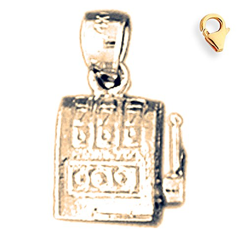 Jewels Obsession Slot Machine Pendant | 14K Yellow Gold Slot Machine Charm Pendant - 15mm