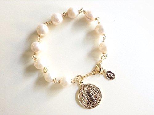 San Benito bracelet freshwater cultured pearls St Benedict medal bracelet
