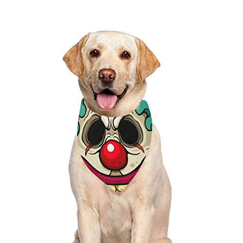 JTMOVING Dog Scarf Cartoon Clown Zombie Face Printing Dog Bandana Triangle Kerchief Bibs Accessories for Large Boy Girl Dogs Cats Pets Birthday Party Gift -