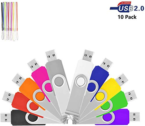 HKUU 10 Pack 4GB Bulk Flash Drive USB 2.0 Thumb Drive Swivel Memory Stick with Led Indicator Jump Drive Compatible with Computer Data Storage (Multicolor)