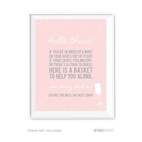 Andaz Press Blush Pink and Gray Pop Fizz Clink Wedding Collection, Party Signs, Bathroom Basket Sign, 8.5x11-inch, 1-Pack
