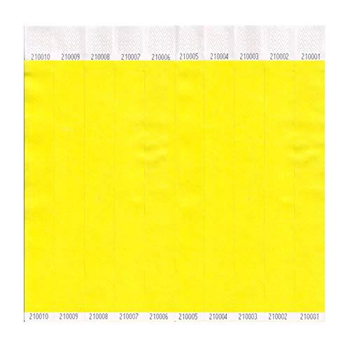 Yellow, Tyvek Wristbands Plain 1 Box of 1000