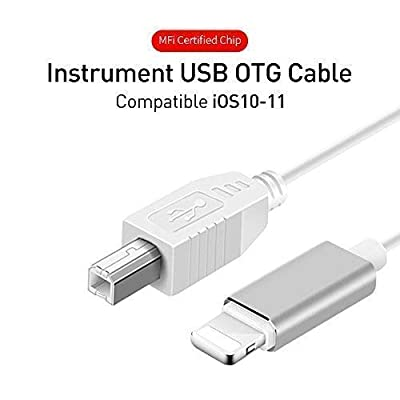 MeloAudio USB 2.0 Cable Type B to Midi Cable OTG Cable Compatible with iOS Devices to Midi Controller, Electronic Music Instrument, Midi Keyboard, Recording Audio Interface, USB Microphone?5FT from MeloAudio