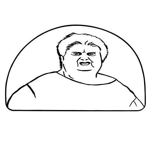 YOLIYANA Humor Decor Semi Circle Mat,Chubby Guy Meme Fat Angry Facial Expression Display Internet Character Print Carpet Indoor Mat,31.4