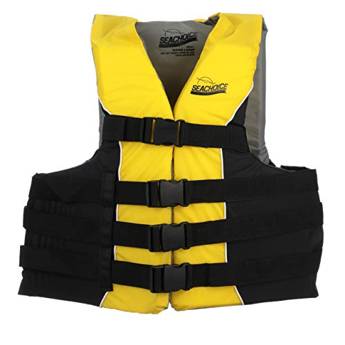 (Seachoice 86430 Type III Life Jacket - Deluxe Adjustable 4-Belt Ski Vest, Yellow and Black, Size XXL/XXXL: 50