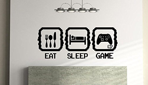 (Eat Sleep Game Xb One Version Wall Art For Kids Bedroom Play Room Vinyl Wall Sticker (57Cm X 23Cm) Free 1St Class Postage)