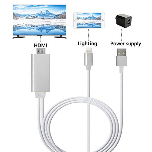 ZFKJERS Lighting to HDMI Cable, Mirroring Phone Screen to TV/Projector/Monitor Adapter Cable, 1080P Digital AV Adapter, Compatible iOS Devices(Silver)