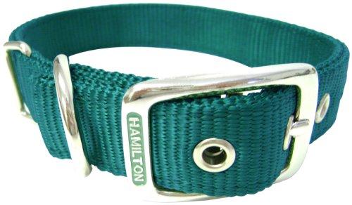 Hamilton Thick Nylon Deluxe Dog Collar, 1-Inch by 24-Inch Double, Dark Green