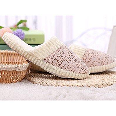 slippers - TOOGOO(R) Men's cotton padded letter slippers (44-45, cream farbig)