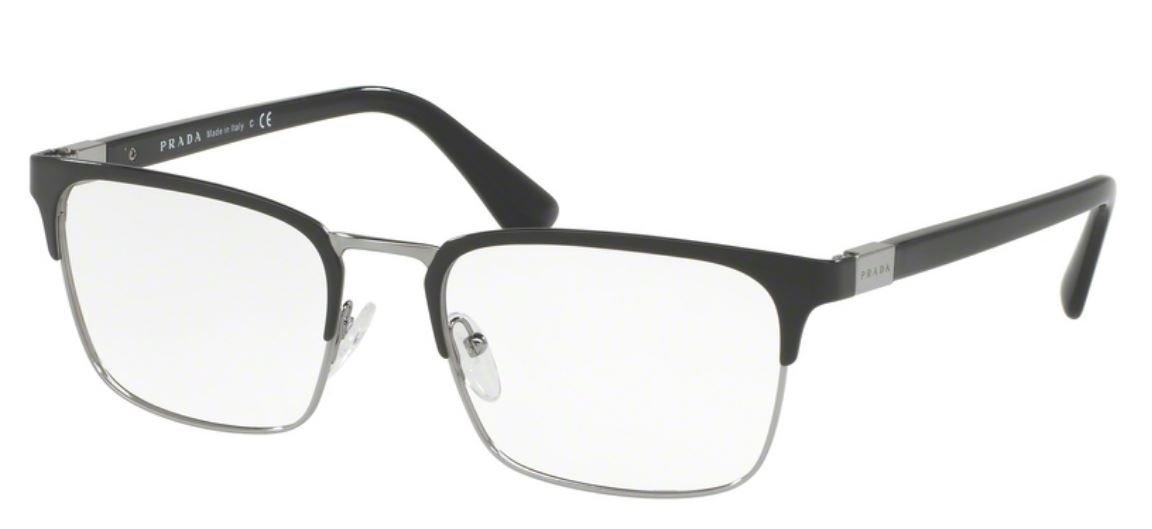 Prada PR54TV Eyeglass Frames 1AB1O1-55 - Black Gunmetal by Prada
