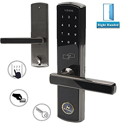 Electric Touchscreen Door Lock Keyless Combination Entry Digital Code Password Keypad Lever Lock Security Safety Entrance Lockset with Tempered Glass Screen, Black