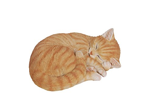 Hi-Line Gift Ltd Lying Cat Sleeping Tabby Statue, Orange