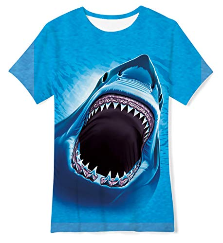 Kids Graphic Tees Shark Animal Pattern Funny T Shirts for Beach Tshirts for Little Boys Girls Size 6-8