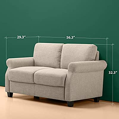 Phenomenal Zinus Josh Traditional Upholstered 56In Sofa Couch Loveseat Beige Weave Inzonedesignstudio Interior Chair Design Inzonedesignstudiocom