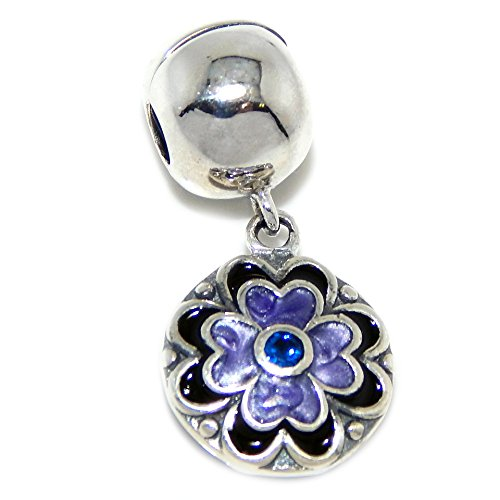 PJEWELRY .925 Sterling Silver Exclusive Purple Flower Dangle Clip Lock Combo Charm Bead for Snake Chain Charm Bracelets - Dangle Lock