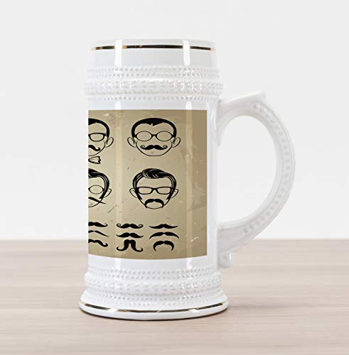 Ambesonne Geek Beer Stein Mug, Male Face Silhouettes Showing Types of Moustaches and Haircuts Image, Traditional Style Decorative Printed Ceramic Large Beer Mug Stein, Eggshell Beige and Black (Different Types Of Haircuts For Black Males)