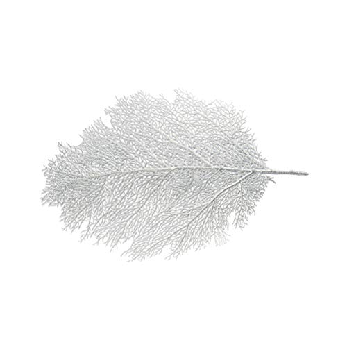 Hemoton Large Artificial Coral Wedding Table Decorations Coral Branch Leaf Table Runner for Wedding Leaf Place Mat for Parties and Dinning Table(Silver)