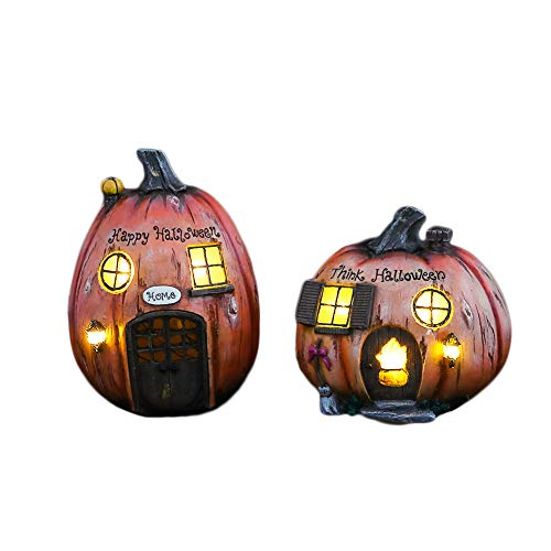 V&M VALERY MADELYN 2 Packs Solar Halloween Pumpkin, Haunted House Halloween Decorations, Resin Statues with 5.5'' and 7'' inch Tall by V&M VALERY MADELYN