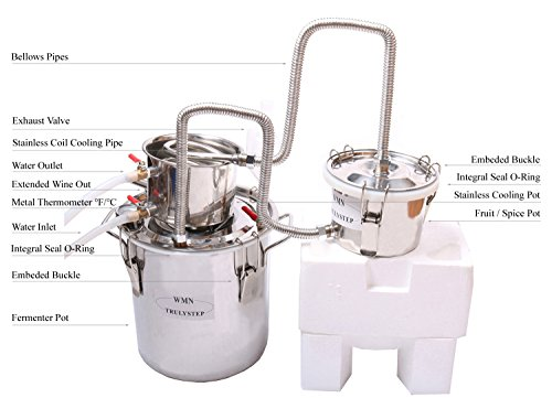 New 3 Pots DIY 3 Gal 12 Litres Alcohol Moonshine Ethanol Still Spirits Stainless Steel Boiler Water Distiller Whiskey Wine Making Kit by WMN_TRULYSTEP (Image #1)