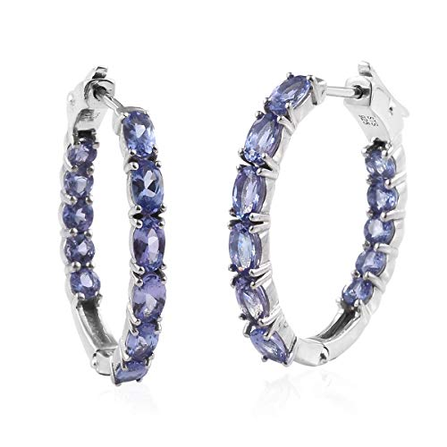 Oval Tanzanite Inside Out Latch Hoops Hoop Earrings 925 Sterling Silver Platinum Plated Gift Jewelry for Women Cttw ()