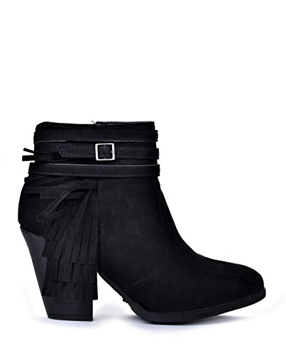 (dollhouse Demeanor Women's Fringe Buckle Strap Accent Chunky Heel Ankle Booties,Black,10)