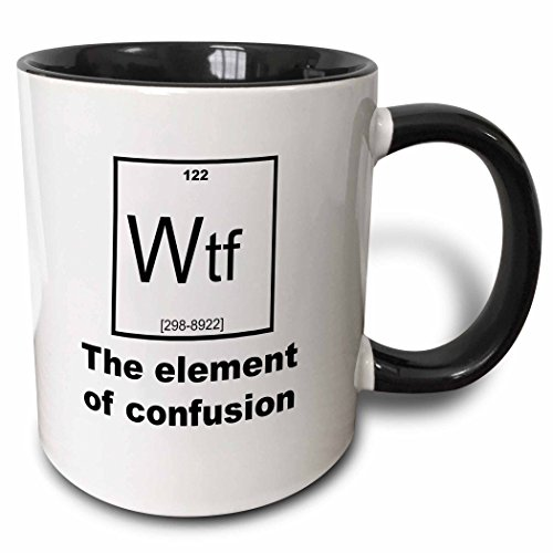 3dRose 183626_4 Wtf - The Element Of Confusion Two Tone Mug, 11 oz, Black