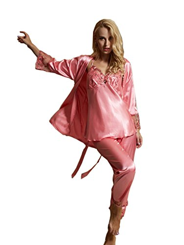 aorui Seda Nightdresses 3 Pcs Sets pantalones Rosa
