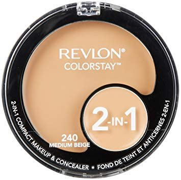 (Pack 2) Revlon ColorStay 2-in-1 Compact Makeup & Concealer, Medium Beige, 240