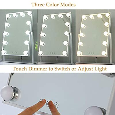WAYKING Makeup Mirror with Lights, Lighted Vanity Mirror with 12 LED Bulbs, Touch Dimmer and 3 Color Lighting, 360 Degree Rotary Design, White(13.9X18.5 inch)