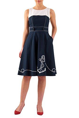 eShakti Women's Anchor embellished colorblock poplin dress 2X-22W Regular Deep (Sleeveless Stretch Poplin Dress)