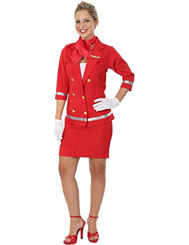 Red Air Hostess Costume (Adult Sizzling Red Air Hostess Costume)