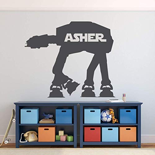 Personalized Star Wars Decals AT-AT Combat Walker Vinyl Wall Sticker | Boy Bedroom, Playroom, or Birthday Party Decoration | Baby Shower Gift Idea for Newborn Child | Black, White, Gold, Other Colors -